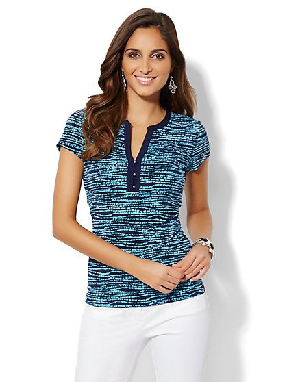 Contrast-Trim Short-Sleeve Top  - New York & Company