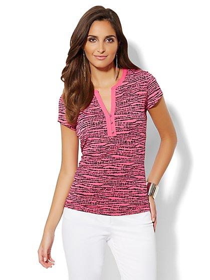 Contrast-Trim Short-Sleeve Top  - New York & Company
