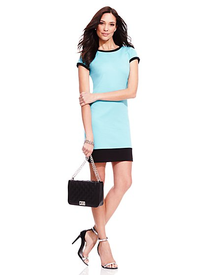 Contrast-Trim T-Shirt Dress - Petite  - New York & Company
