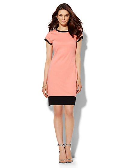 Contrast-Trim T-Shirt Dress - Petite  - New York & Company