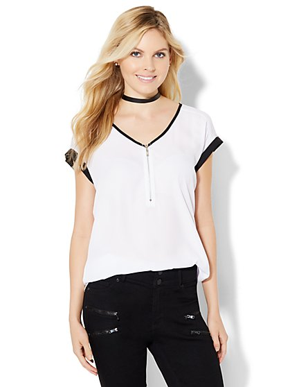 Contrast-Trim Zip-Front Blouse  - New York & Company