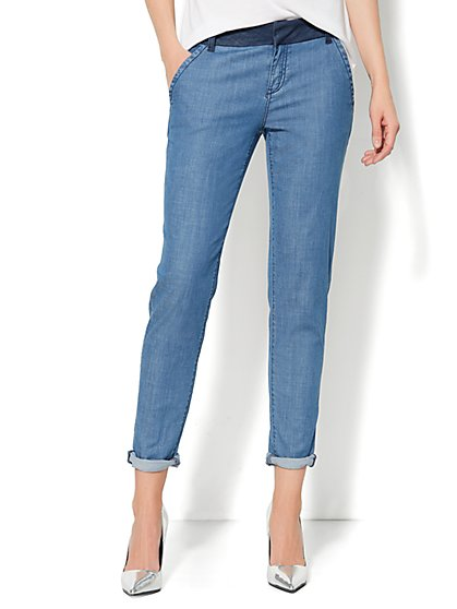 Contrast-Waist Chambray Trouser - New York & Company
