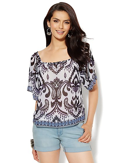 Convertible Blouse - Abstract Ikat - New York & Company