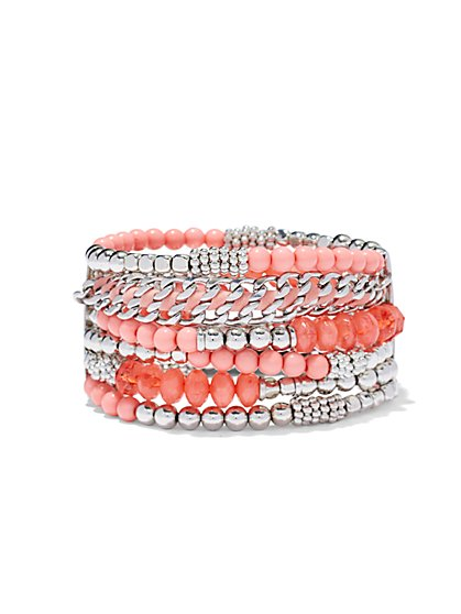Coral Beaded Stretch Bracelet  - New York & Company