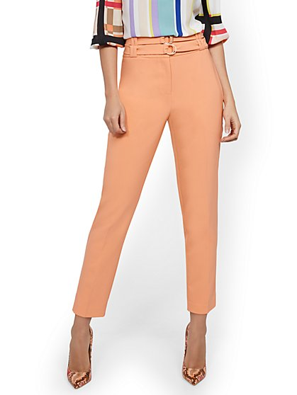 Coral Belted Straight-Leg Ankle Pant - New York & Company