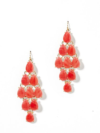 Coral Chandelier-Drop Earrings