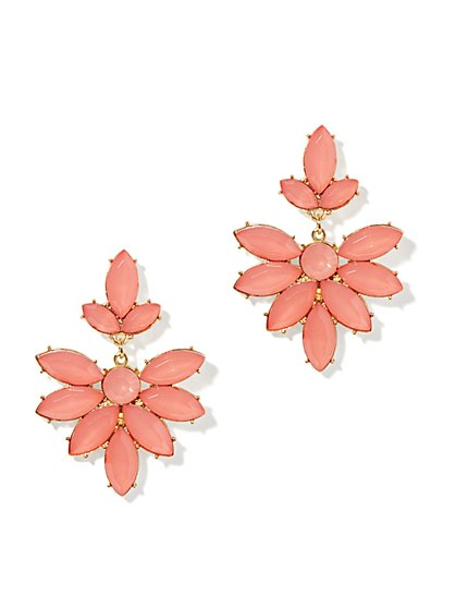 Coral Floral Drop Earrings
