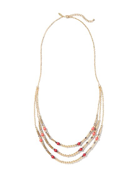Coral & Golden Tubes Beaded Necklace