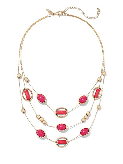 Coral-Hued Cabochon Necklace  - New York & Company