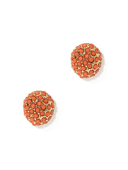 Coral-Hued Post Earring  - New York & Company