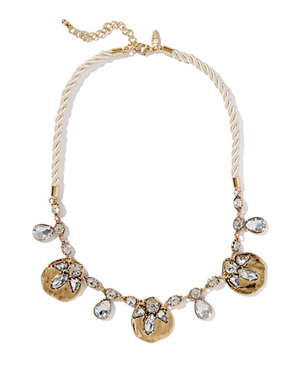 Cord & Faux Stones Link Necklace - New York & Company