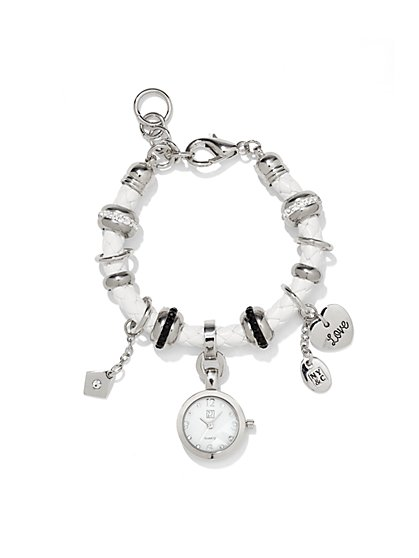 Corded Watch Charm Bracelet  - New York & Company