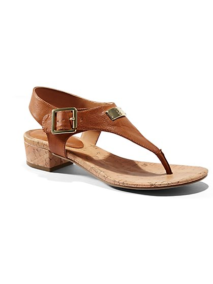 Cork-Heel T-Strap Sandal  - New York & Company