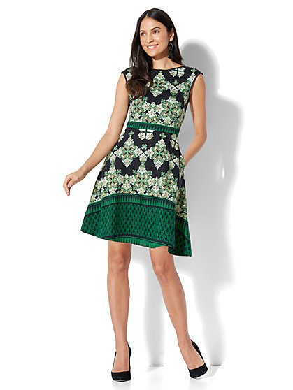 Cotton Bateau-Neck Fit & Flare Dress - Print - Tall - New York & Company