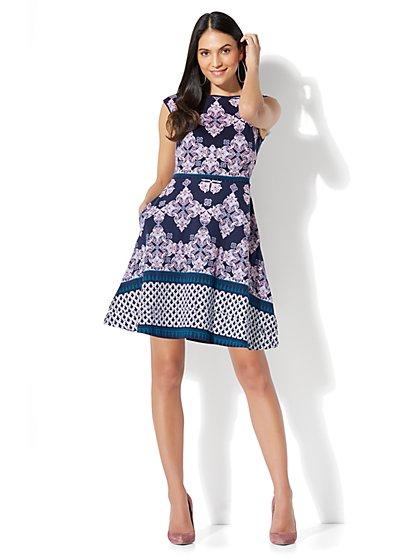 Cotton Bateau-Neck Fit & Flare Dress - Print - New York & Company