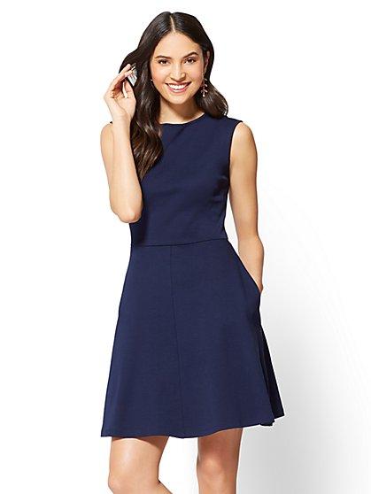 Cotton Bateau-Neck Flare Dress - New York & Company