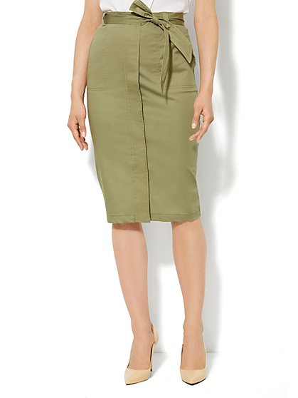 Cotton-Blend Safari Skirt - Petite - New York & Company