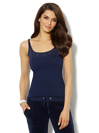 Cotton-Blend Studded Camisole  - New York & Company