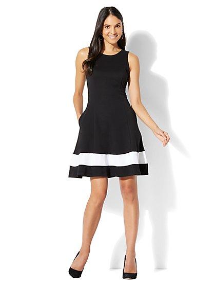Cotton Colorblock Sleeveless Fit & Flare Dress - New York & Company