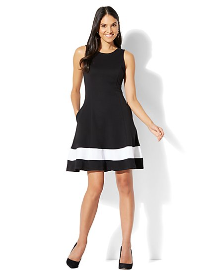 Cotton Colorblock Sleeveless Flare Dress - New York & Company