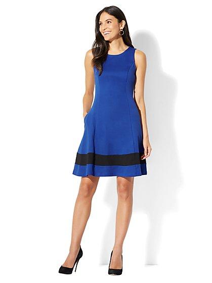 Cotton Colorblock Sleeveless Flare Dress - New York & Company