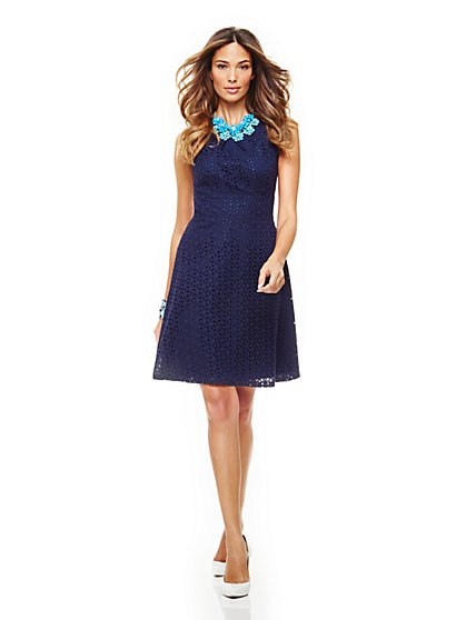 Cotton Eyelet Fit & Flare Halter Dress