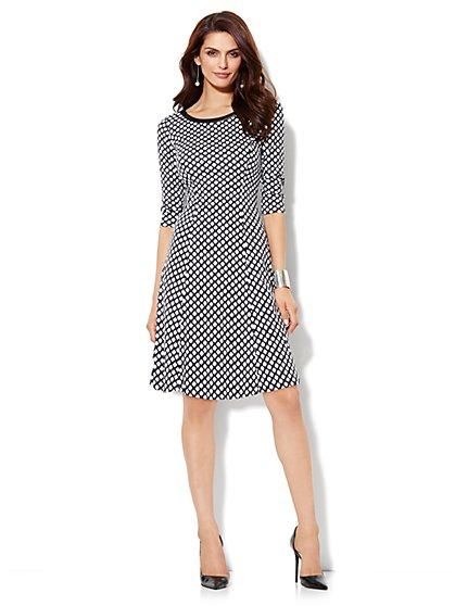 Cotton Flare Dress - Print - New York & Company