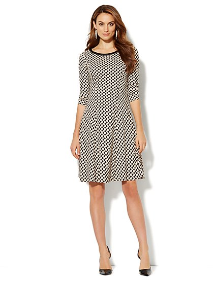 Cotton Flare Dress - Print - New York & Company
