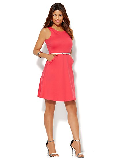 Cotton Flare Dress - Solid - New York & Company