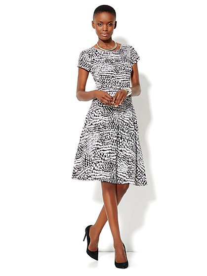 Cotton Flare Print Dress - New York & Company