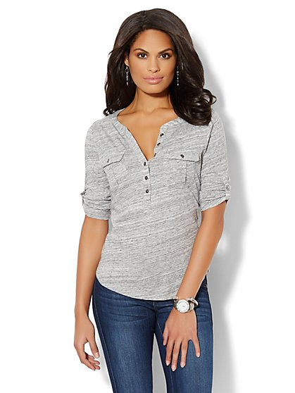 Cotton Henley Top - Charcoal Jaspe - New York & Company