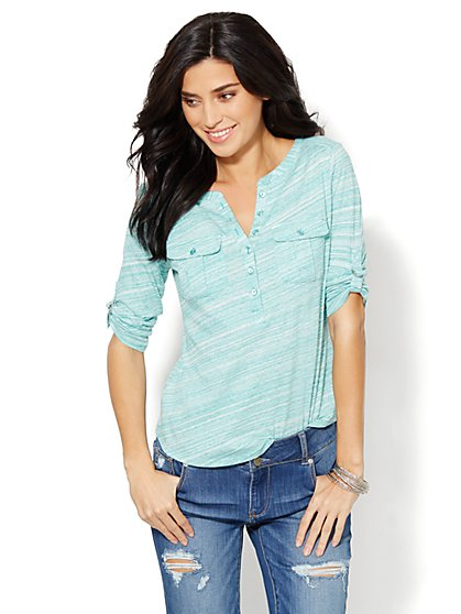 Cotton Henley Top - Emerald Lake - New York & Company