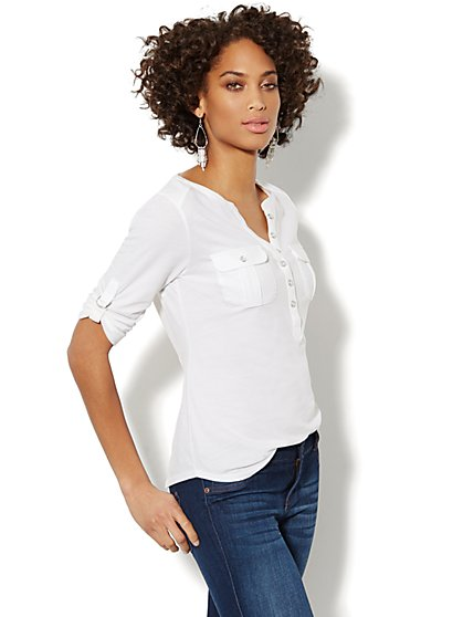 Cotton Henley Top - Solid  - New York & Company