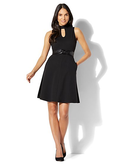 Cotton Interlock Halter Dress - Petite - New York & Company