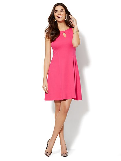 Cotton Interlock Halter Dress - Solid  - New York & Company