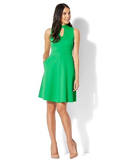 Cotton Keyhole Flare Dress - New York & Company
