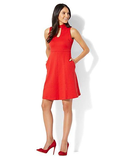Cotton Keyhole Flare Dress - New York & Company