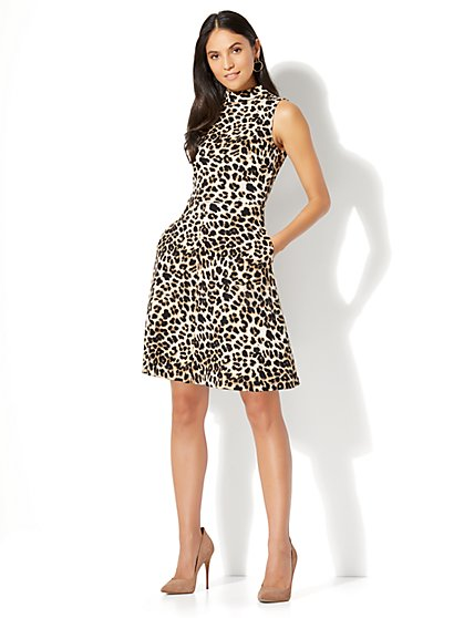 Cotton Mock-Neck Fit & Flare Dress - Leopard Print - New York & Company