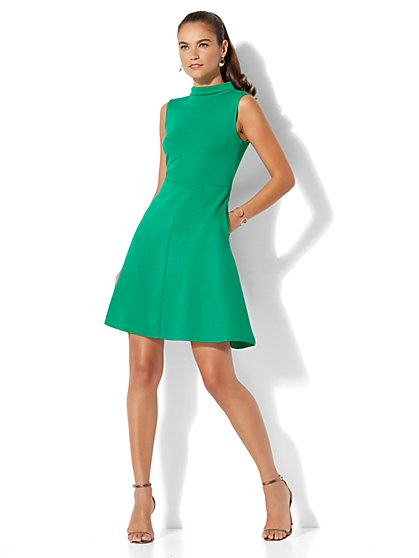 Cotton Mock-Neck Fit & Flare Dress - Petite - New York & Company