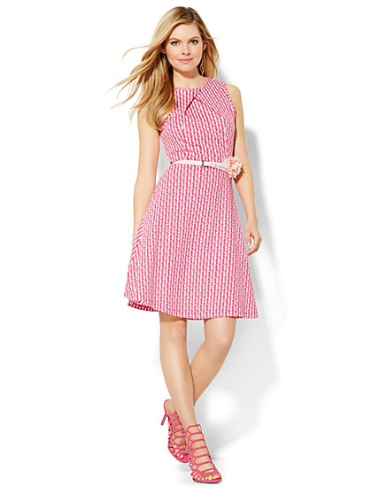 Cotton Pleat Neck Flare Dress - Print - Petite  - New York & Company