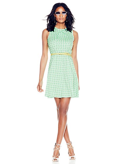 Cotton Pleat Neck Flare Dress - Print  - New York & Company