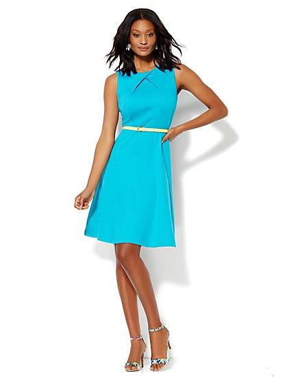 Cotton Pleat Neck Flare Dress - Solid - Petite  - New York & Company