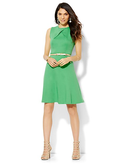 Cotton Pleat Neck Flare Dress - Solid - Petite  - New York & Company
