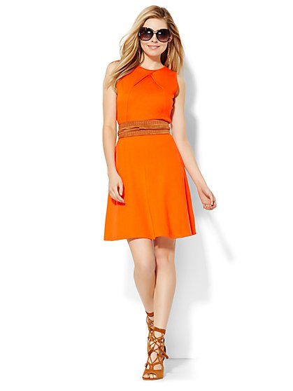 Cotton Pleat Neck Flare Dress - Solid - New York & Company