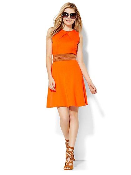 Cotton Pleat Neck Flare Dress - Solid - New York & Company