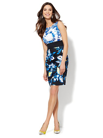 Cotton Sheath Dress - Mixed Floral Print  - New York & Company