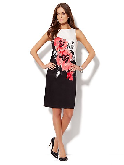 Cotton Shift Dress - Floral Print  - New York & Company