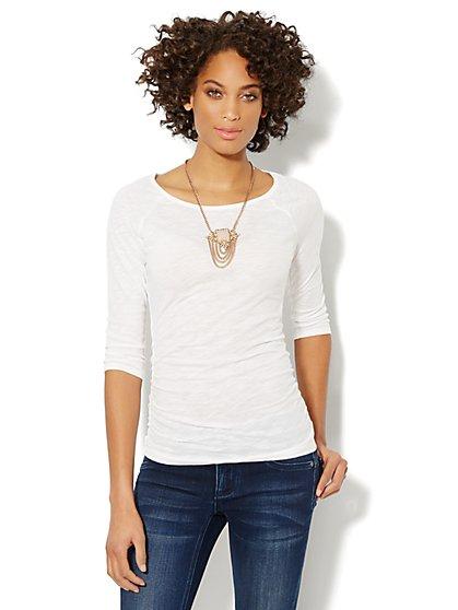 Cotton Shirred Scoopneck Top  - New York & Company