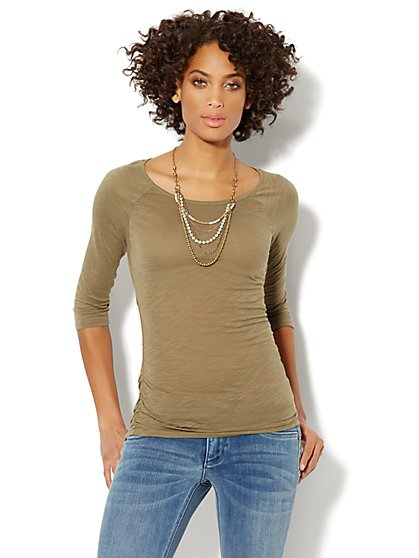 Cotton Shirred Scoopneck Top  - New York & Company