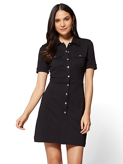 Cotton Shirtdress - Solid  - New York & Company